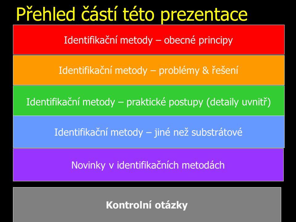 Přehled částí této prezentace Identifikační metody – obecné principy Identifikační metody – problémy & řešení Identifikační metody – praktické postupy