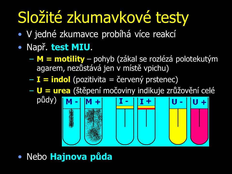 Složité zkumavkové testy V jedné zkumavce probíhá více reakcí Např. test MIU. –M = motility – pohyb (zákal se rozlézá polotekutým agarem, nezůstává je