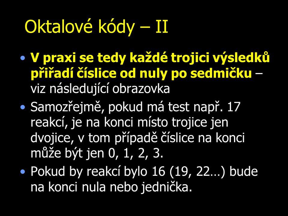 Oktalové kódy – II V praxi se tedy každé trojici výsledků přiřadí číslice od nuly po sedmičku – viz následující obrazovka Samozřejmě, pokud má test na