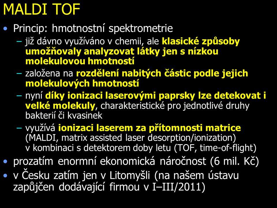 MALDI TOF Princip: hmotnostní spektrometrie –již dávno využíváno v chemii, ale klasické způsoby umožňovaly analyzovat látky jen s nízkou molekulovou h