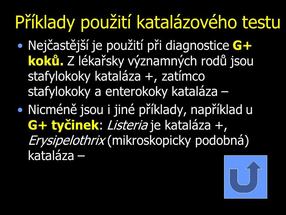 Příklady použití katalázového testu Nejčastější je použití při diagnostice G+ koků. Z lékařsky významných rodů jsou stafylokoky kataláza +, zatímco st