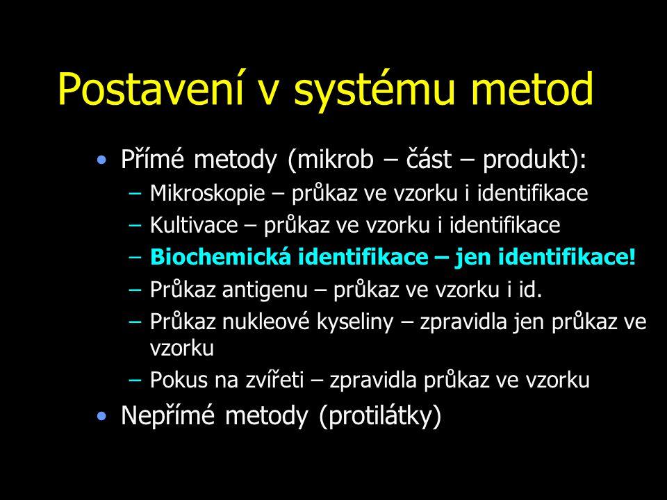Postavení v systému metod Přímé metody (mikrob – část – produkt): –Mikroskopie – průkaz ve vzorku i identifikace –Kultivace – průkaz ve vzorku i ident