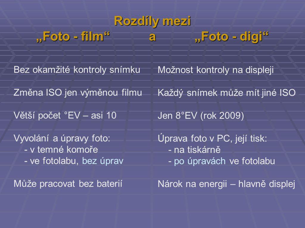 """Rozdíly mezi """"Foto - film a """"Foto - digi Bez okamžité kontroly snímku Změna ISO jen výměnou filmu Větší počet °EV – asi 10 Vyvolání a úpravy foto: - v temné komoře - ve fotolabu, bez úprav Může pracovat bez baterií Možnost kontroly na displeji Každý snímek může mít jiné ISO Jen 8°EV (rok 2009) Úprava foto v PC, její tisk: - na tiskárně - po úpravách ve fotolabu Nárok na energii – hlavně displej"""