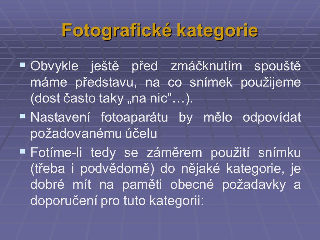Fotografické kategorie Vyšetřování - dokumentace: všechny body na fotografii ostré a dobře projasněné v noci vždy s bleskem; ve dne - pokud si můžeme vybrat, tak fotografovat tenkrát, když je nejvíce světla kompozice není důležitá, ale všechny podstatné věci musí být zdokumentovány obvykle se nejdůležitější věc umisťuje na střed snímku přesné barevné podání není obvykle moc důležité díky vysokému rozlišení fotografie můžeme na snímku nalézt podstatný detail až na monitoru a fotka náhle dostává svou vážnost