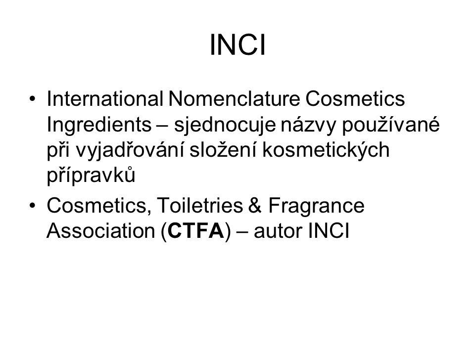 INCI International Nomenclature Cosmetics Ingredients – sjednocuje názvy používané při vyjadřování složení kosmetických přípravků Cosmetics, Toiletrie
