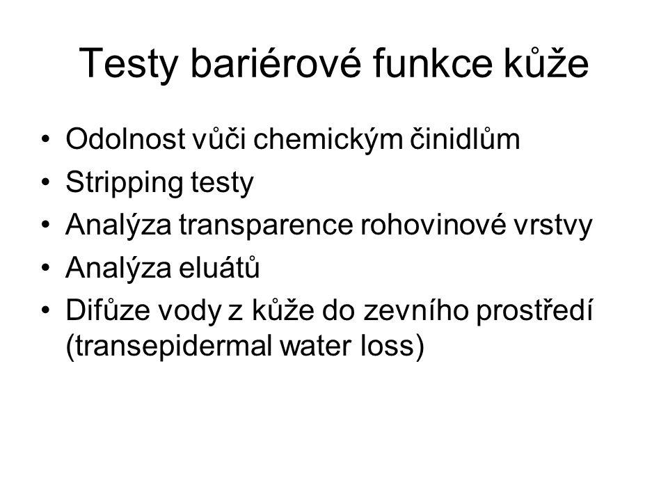 Testy bariérové funkce kůže Odolnost vůči chemickým činidlům Stripping testy Analýza transparence rohovinové vrstvy Analýza eluátů Difůze vody z kůže