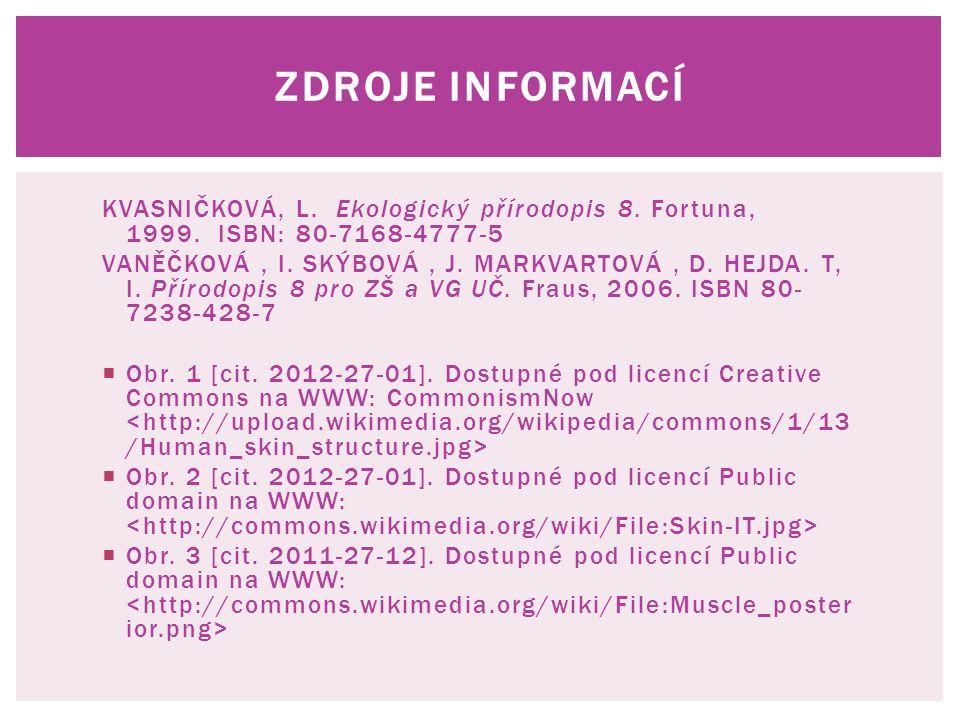 ZDROJE INFORMACÍ KVASNIČKOVÁ, L. Ekologický přírodopis 8. Fortuna, 1999. ISBN: 80-7168-4777-5 VANĚČKOVÁ, I. SKÝBOVÁ, J. MARKVARTOVÁ, D. HEJDA. T, I. P