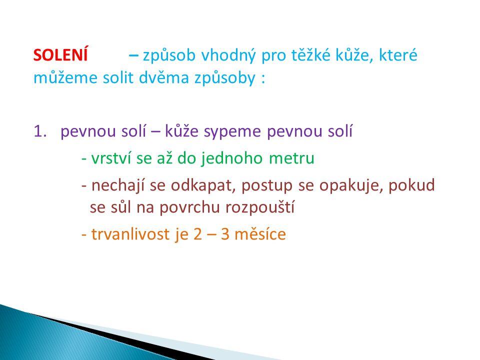 SOLENÍ – způsob vhodný pro těžké kůže, které můžeme solit dvěma způsoby : 1.pevnou solí – kůže sypeme pevnou solí - vrství se až do jednoho metru - nechají se odkapat, postup se opakuje, pokud se sůl na povrchu rozpouští - trvanlivost je 2 – 3 měsíce