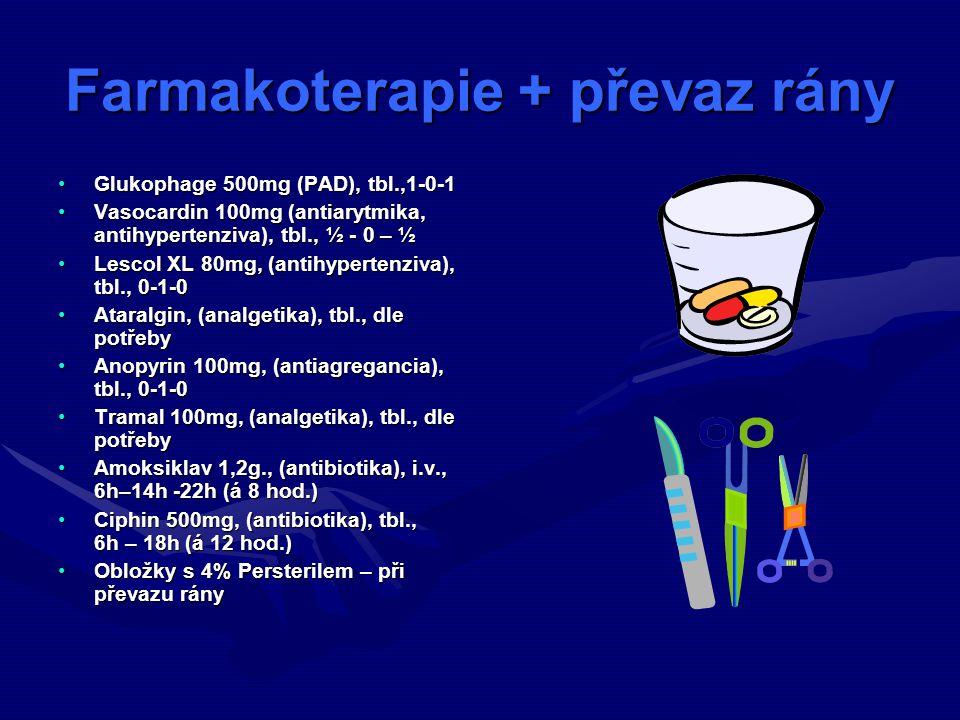 Farmakoterapie + převaz rány Glukophage 500mg (PAD), tbl.,1-0-1Glukophage 500mg (PAD), tbl.,1-0-1 Vasocardin 100mg (antiarytmika, antihypertenziva), tbl., ½ - 0 – ½Vasocardin 100mg (antiarytmika, antihypertenziva), tbl., ½ - 0 – ½ Lescol XL 80mg, (antihypertenziva), tbl., 0-1-0Lescol XL 80mg, (antihypertenziva), tbl., 0-1-0 Ataralgin, (analgetika), tbl., dle potřebyAtaralgin, (analgetika), tbl., dle potřeby Anopyrin 100mg, (antiagregancia), tbl., 0-1-0Anopyrin 100mg, (antiagregancia), tbl., 0-1-0 Tramal 100mg, (analgetika), tbl., dle potřebyTramal 100mg, (analgetika), tbl., dle potřeby Amoksiklav 1,2g., (antibiotika), i.v., 6h–14h -22h (á 8 hod.)Amoksiklav 1,2g., (antibiotika), i.v., 6h–14h -22h (á 8 hod.) Ciphin 500mg, (antibiotika), tbl., 6h – 18h (á 12 hod.)Ciphin 500mg, (antibiotika), tbl., 6h – 18h (á 12 hod.) Obložky s 4% Persterilem – při převazu rányObložky s 4% Persterilem – při převazu rány
