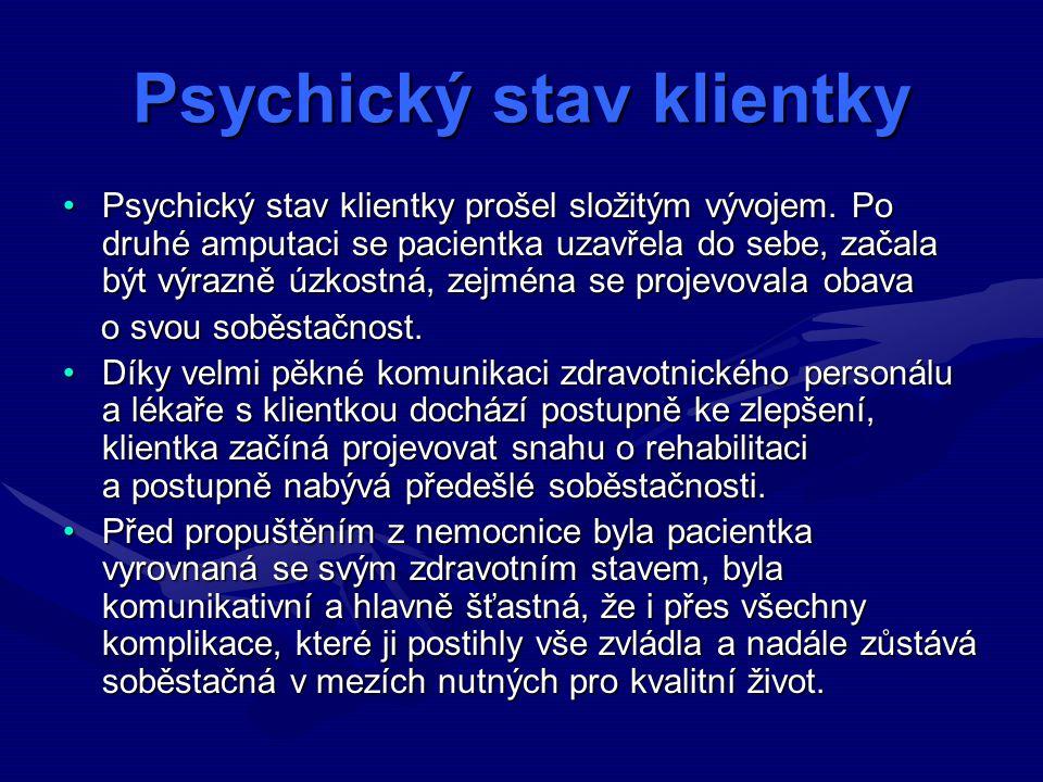 Psychický stav klientky Psychický stav klientky prošel složitým vývojem.