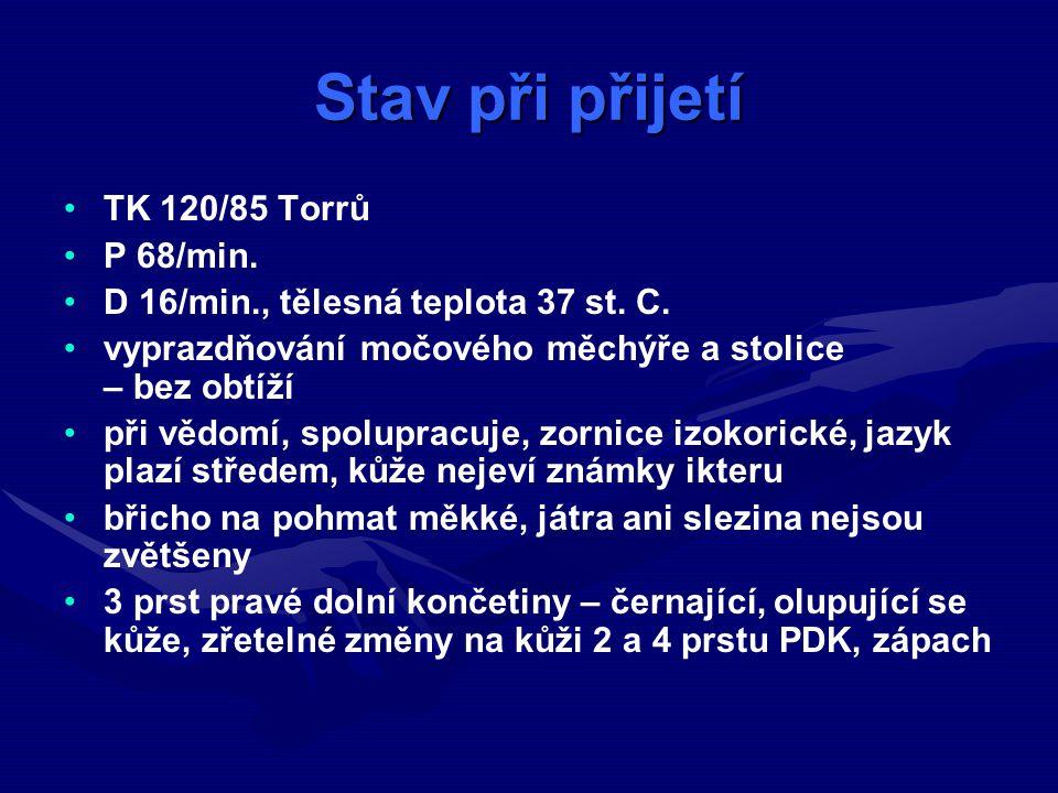 Stav při přijetí TK 120/85 Torrů P 68/min.D 16/min., tělesná teplota 37 st.