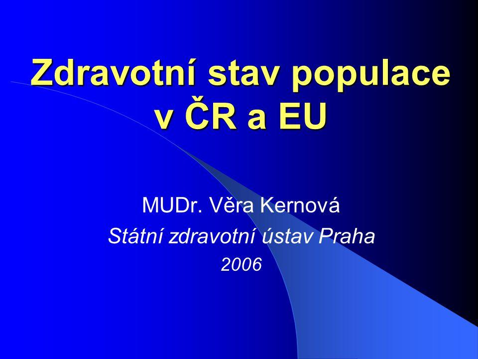 Zdravotní stav populace v ČR a EU MUDr. Věra Kernová Státní zdravotní ústav Praha 2006