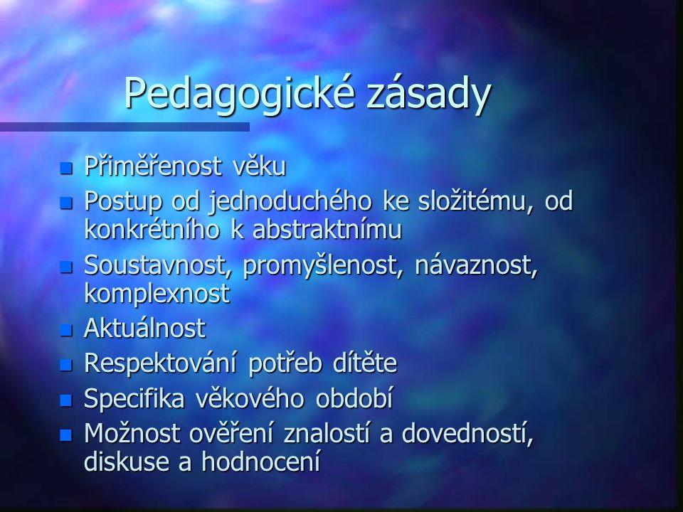 Pedagogické zásady n Přiměřenost věku n Postup od jednoduchého ke složitému, od konkrétního k abstraktnímu n Soustavnost, promyšlenost, návaznost, kom