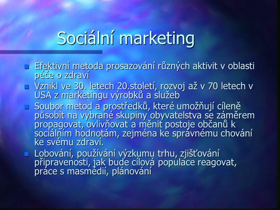 Sociální marketing n Efektivní metoda prosazování různých aktivit v oblasti péče o zdraví n Vznikl ve 30. letech 20.století, rozvoj až v 70 letech v U