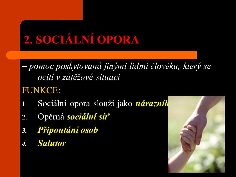 2. SOCIÁLNÍ OPORA = pomoc poskytovaná jinými lidmi člověku, který se ocitl v zátěžové situaci FUNKCE: 1. Sociální opora slouží jako nárazník 2. Opěrná