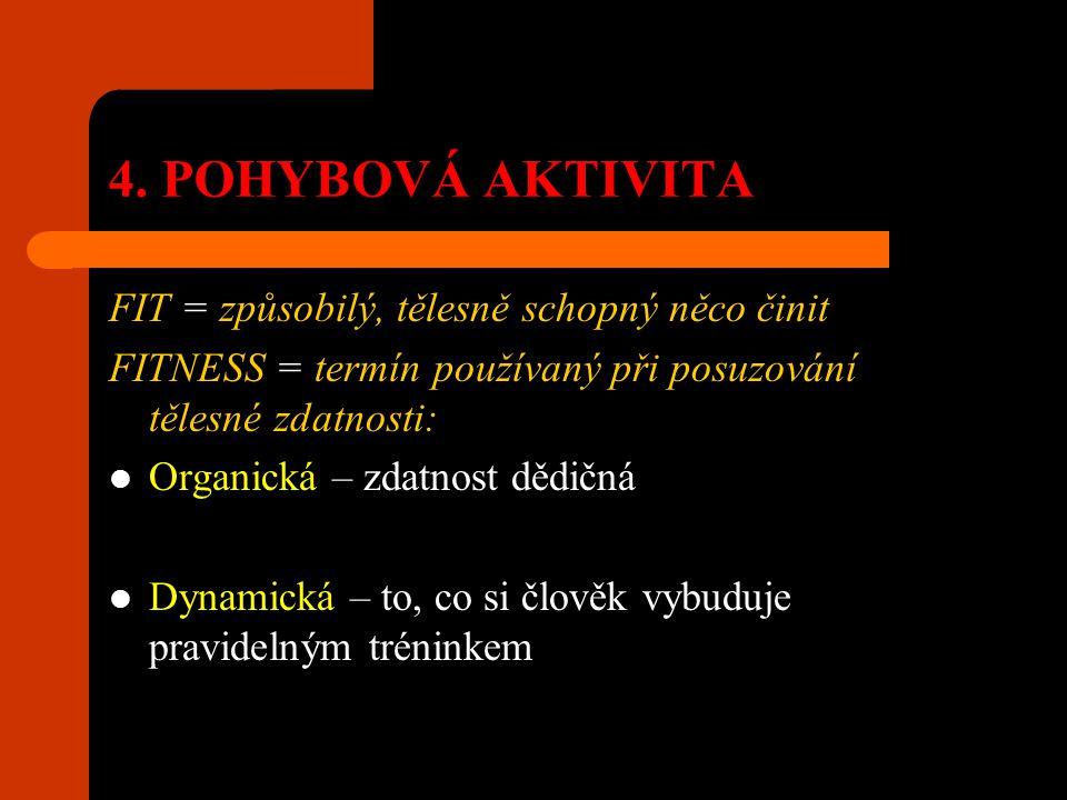 4. POHYBOVÁ AKTIVITA FIT = způsobilý, tělesně schopný něco činit FITNESS = termín používaný při posuzování tělesné zdatnosti: Organická – zdatnost děd