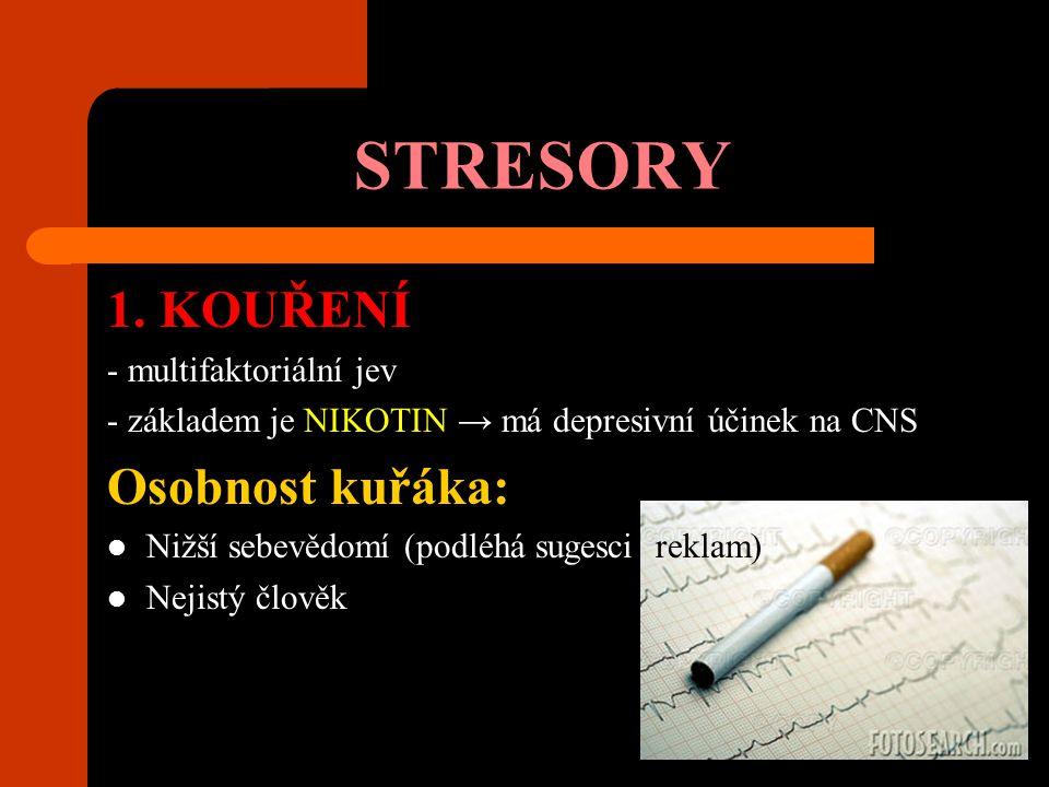 STRESORY 1. KOUŘENÍ - multifaktoriální jev - základem je NIKOTIN → má depresivní účinek na CNS Osobnost kuřáka: Nižší sebevědomí (podléhá sugesci rekl