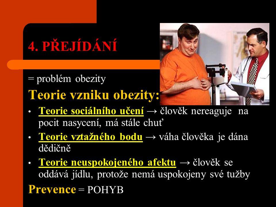 4. PŘEJÍDÁNÍ = problém obezity Teorie vzniku obezity: Teorie sociálního učení → člověk nereaguje na pocit nasycení, má stále chuť Teorie vztažného bod