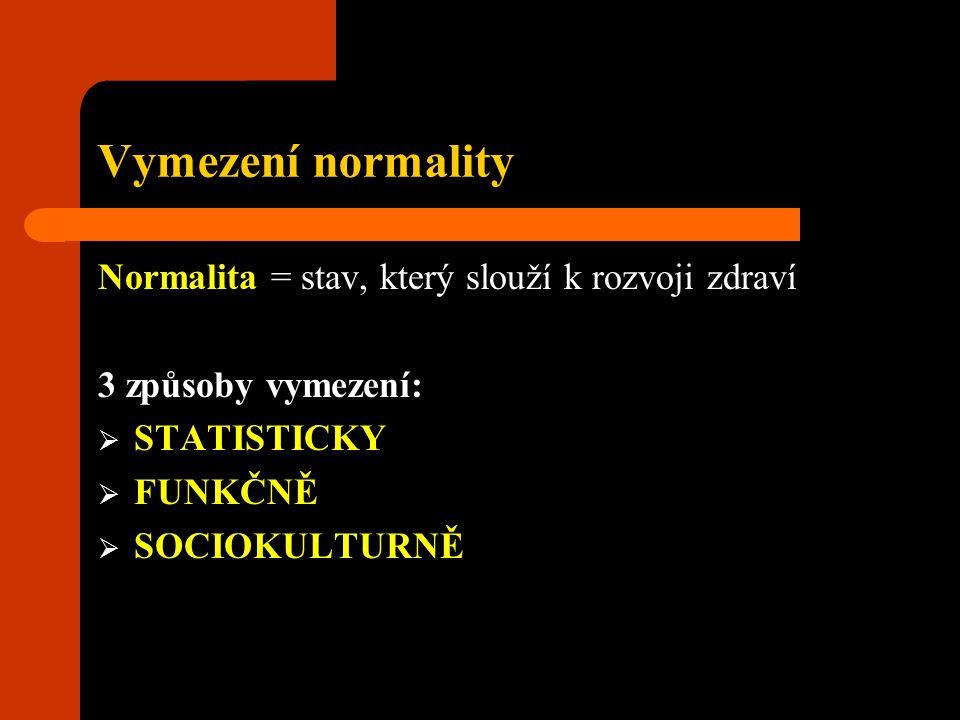 Vymezení normality Normalita = stav, který slouží k rozvoji zdraví 3 způsoby vymezení:  STATISTICKY  FUNKČNĚ  SOCIOKULTURNĚ