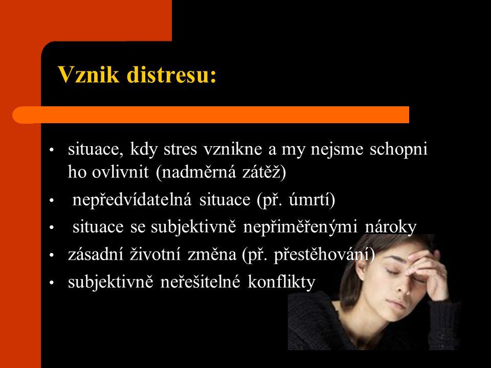 Vznik distresu: situace, kdy stres vznikne a my nejsme schopni ho ovlivnit (nadměrná zátěž) nepředvídatelná situace (př. úmrtí) situace se subjektivně