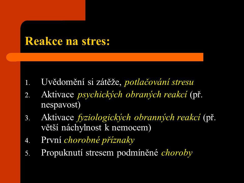 Reakce na stres: 1. Uvědomění si zátěže, potlačování stresu 2. Aktivace psychických obraných reakcí (př. nespavost) 3. Aktivace fyziologických obranný