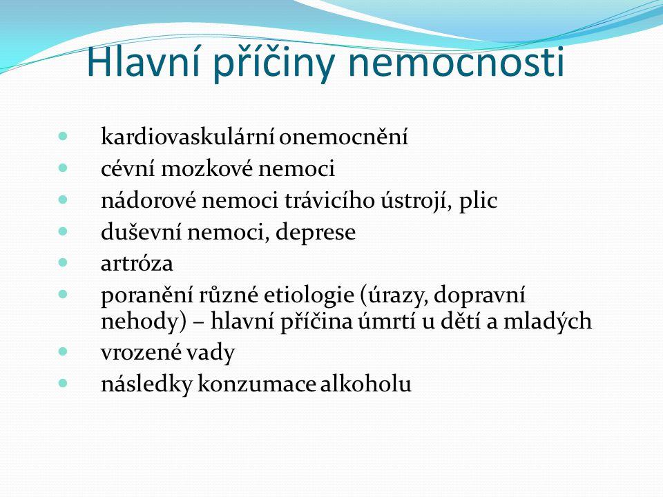 Hlavní příčiny nemocnosti kardiovaskulární onemocnění cévní mozkové nemoci nádorové nemoci trávicího ústrojí, plic duševní nemoci, deprese artróza por