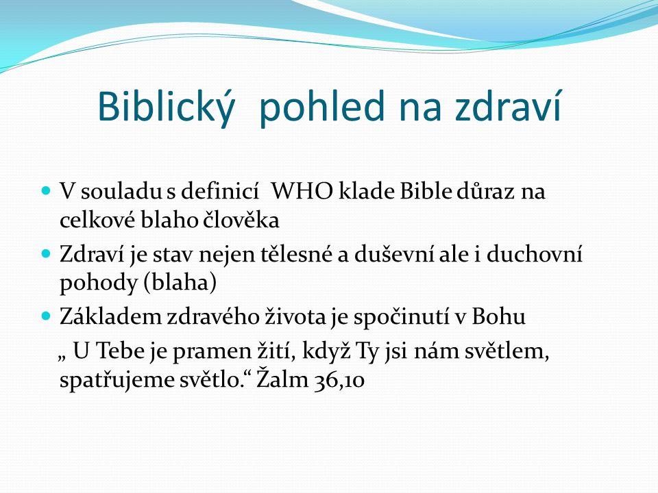 Biblický pohled na nemoc Nemoc je jedno z utrpení, které do světa přišlo poté, co se člověk Pánu Bohu vzepřel Nemoc neznamená trest za naše hříchy, ale může být součástí Boží výchovy Židům 12, 6-11 Nemoc můžeme využít k tomu, abychom si ozřejmili, co je v našem životě důležité, na čem náš život stojí