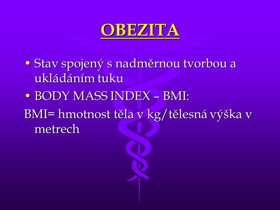 OBEZITA Stav spojený s nadměrnou tvorbou a ukládáním tukuStav spojený s nadměrnou tvorbou a ukládáním tuku BODY MASS INDEX – BMI:BODY MASS INDEX – BMI