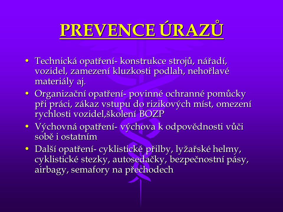 PREVENCE ÚRAZŮ Technická opatření- konstrukce strojů, nářadí, vozidel, zamezení kluzkosti podlah, nehořlavé materiály aj.Technická opatření- konstrukc