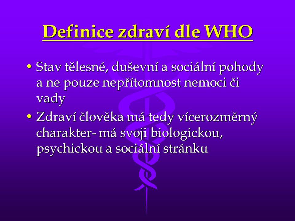 Definice zdraví dle WHO Stav tělesné, duševní a sociální pohody a ne pouze nepřítomnost nemoci či vadyStav tělesné, duševní a sociální pohody a ne pou