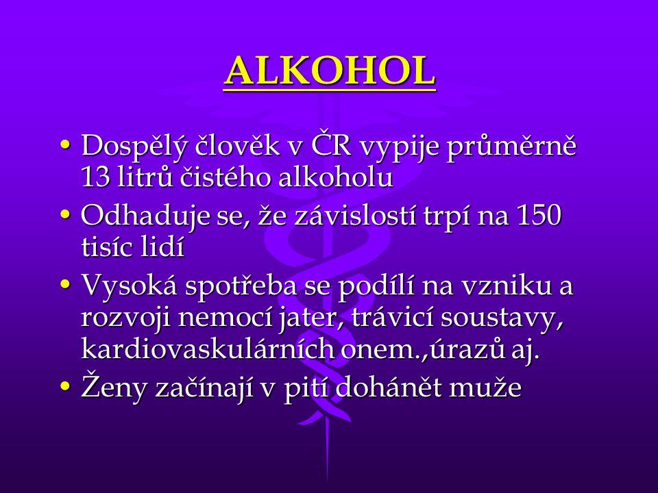 ALKOHOL Dospělý člověk v ČR vypije průměrně 13 litrů čistého alkoholuDospělý člověk v ČR vypije průměrně 13 litrů čistého alkoholu Odhaduje se, že záv