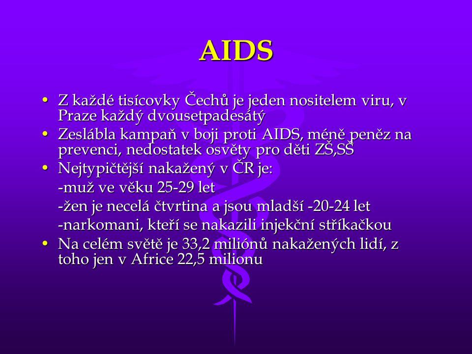 AIDS Z každé tisícovky Čechů je jeden nositelem viru, v Praze každý dvousetpadesátýZ každé tisícovky Čechů je jeden nositelem viru, v Praze každý dvou