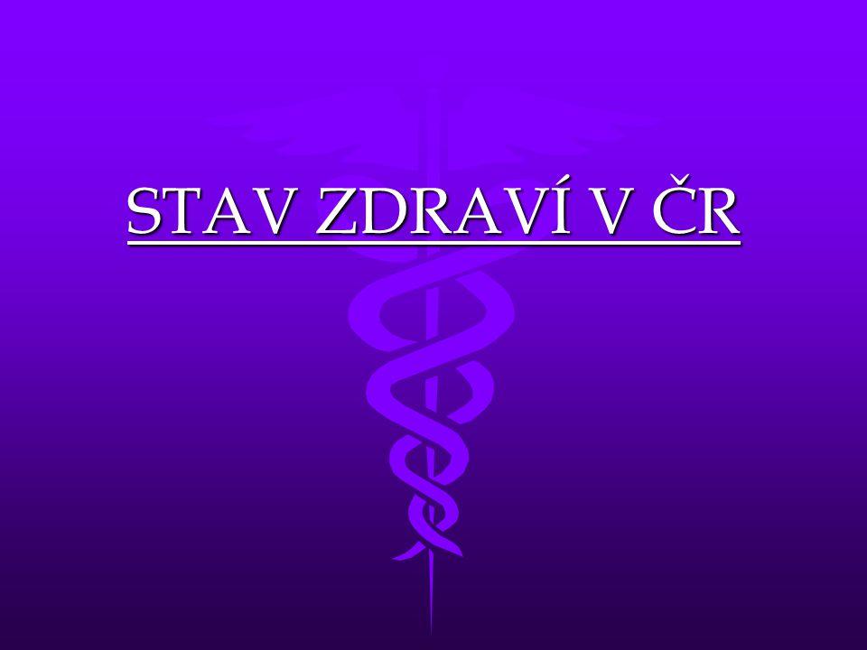 Příčiny umrtí Ročně zemře zhruba 110 000 lidíRočně zemře zhruba 110 000 lidí 1.Nemoci srdce a cév 2.Zhoubné nádory – ca plic, prsu, tlustého střeva a konečníku, ledvin 3.Úrazy 4.Nemocí dýchacího ústrojí 5.Nemoci trávicí soustavy 6.Nemoci nervové soustavy 7.infekce