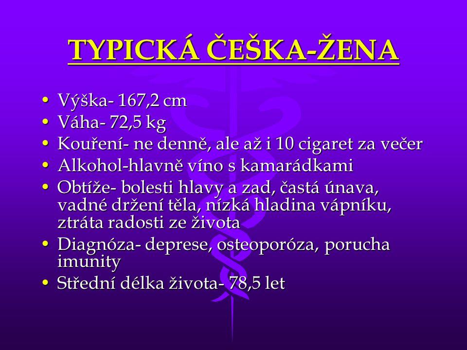 TYPICKÁ ČEŠKA-ŽENA Výška- 167,2 cmVýška- 167,2 cm Váha- 72,5 kgVáha- 72,5 kg Kouření- ne denně, ale až i 10 cigaret za večerKouření- ne denně, ale až