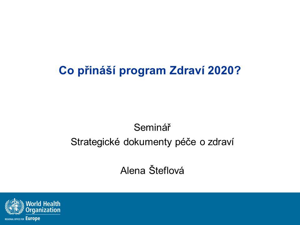 Co přináší program Zdraví 2020? Seminář Strategické dokumenty péče o zdraví Alena Šteflová