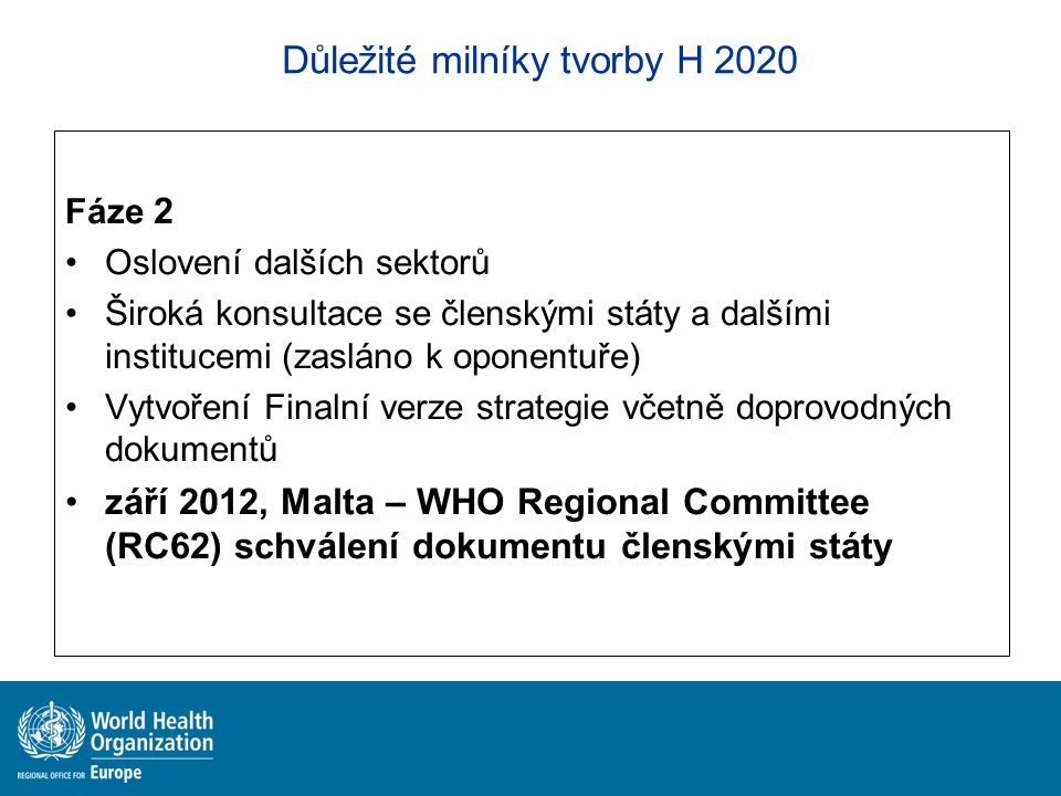 Důležité milníky tvorby H 2020 Fáze 2 Oslovení dalších sektorů Široká konsultace se členskými státy a dalšími institucemi (zasláno k oponentuře) Vytvo