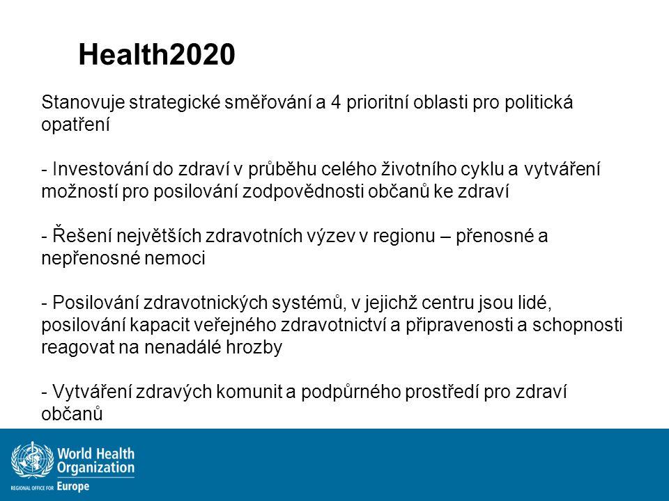 Stanovuje strategické směřování a 4 prioritní oblasti pro politická opatření - Investování do zdraví v průběhu celého životního cyklu a vytváření možn