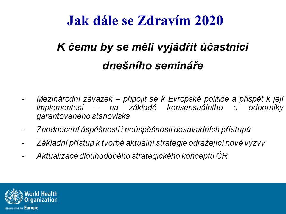 Jak dále se Zdravím 2020 K čemu by se měli vyjádřit účastníci dnešního semináře -Mezinárodní závazek – připojit se k Evropské politice a přispět k jej