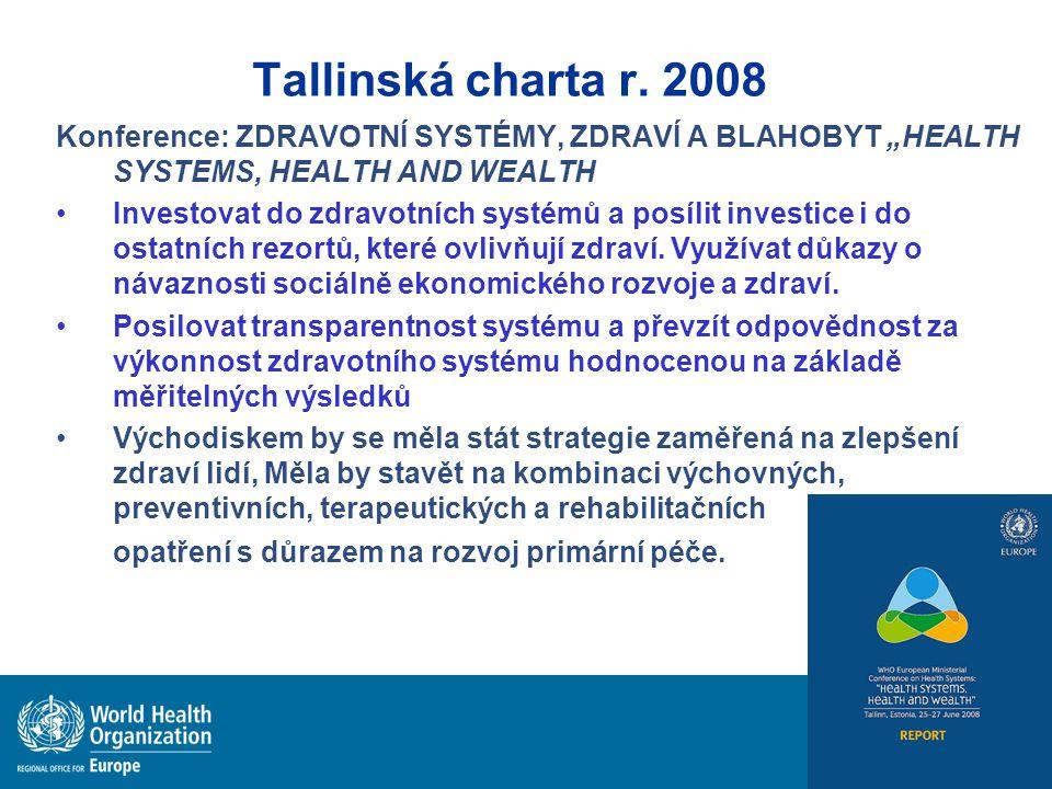 """Tallinská charta r. 2008 Konference: ZDRAVOTNÍ SYSTÉMY, ZDRAVÍ A BLAHOBYT """"HEALTH SYSTEMS, HEALTH AND WEALTH Investovat do zdravotních systémů a posíl"""