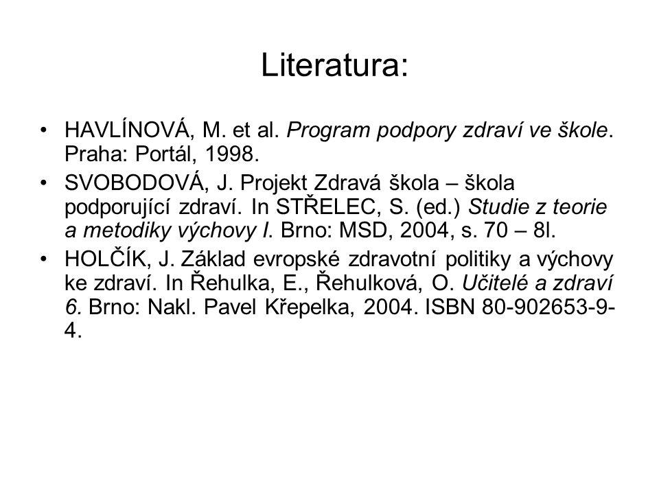 Literatura: HAVLÍNOVÁ, M. et al. Program podpory zdraví ve škole.