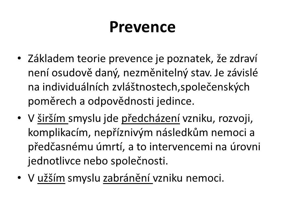 Prevence Základem teorie prevence je poznatek, že zdraví není osudově daný, nezměnitelný stav. Je závislé na individuálních zvláštnostech,společenskýc