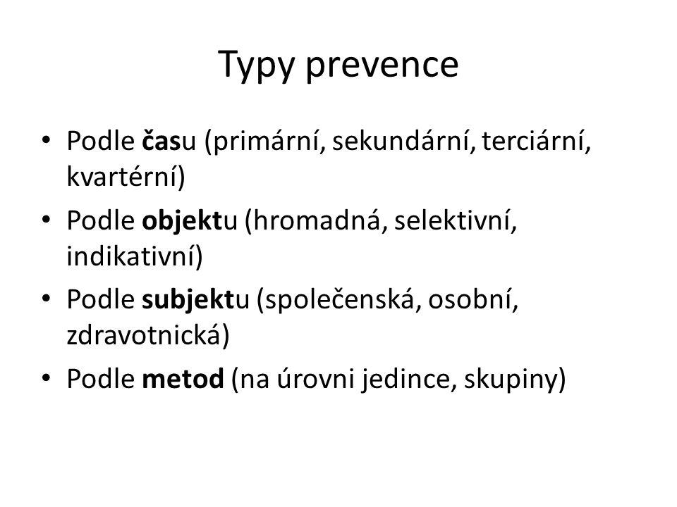 Typy prevence Podle času (primární, sekundární, terciární, kvartérní) Podle objektu (hromadná, selektivní, indikativní) Podle subjektu (společenská, o