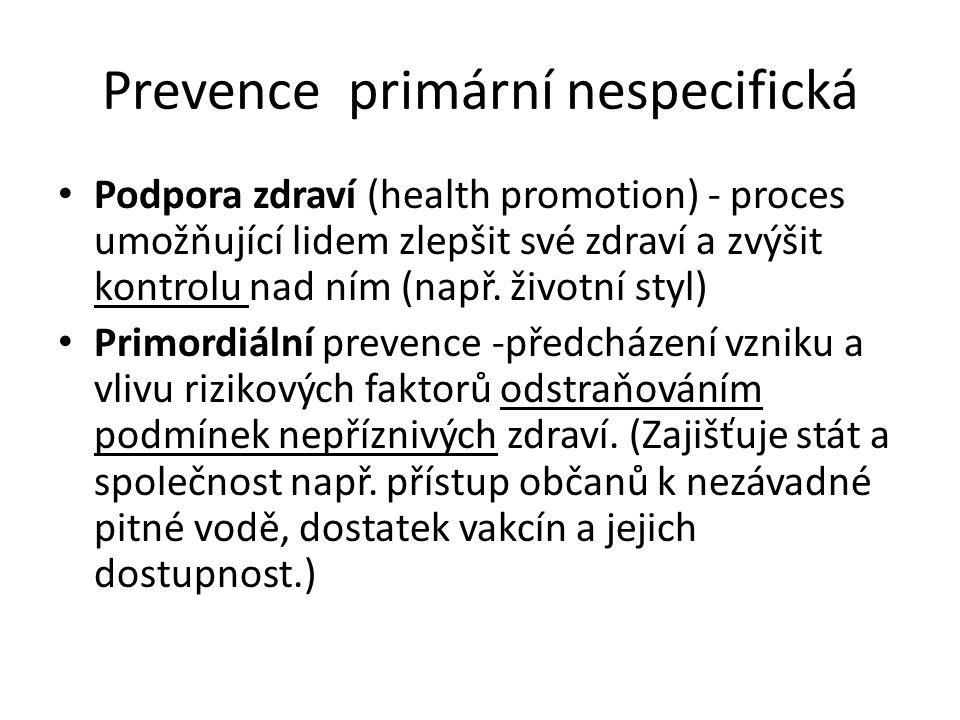 Prevence primární nespecifická Podpora zdraví (health promotion) - proces umožňující lidem zlepšit své zdraví a zvýšit kontrolu nad ním (např. životní