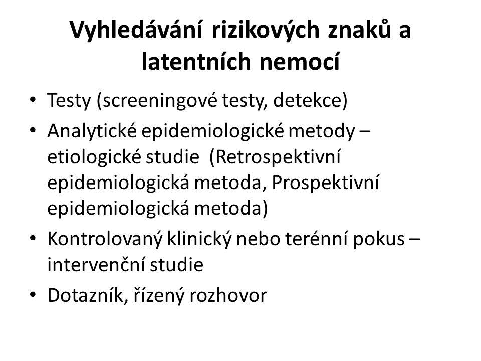 Vyhledávání rizikových znaků a latentních nemocí Testy (screeningové testy, detekce) Analytické epidemiologické metody – etiologické studie (Retrospek