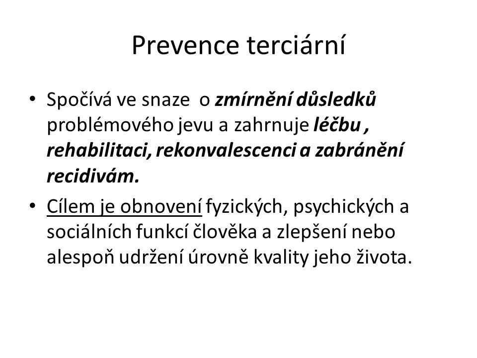 Prevence terciární Spočívá ve snaze o zmírnění důsledků problémového jevu a zahrnuje léčbu, rehabilitaci, rekonvalescenci a zabránění recidivám. Cílem