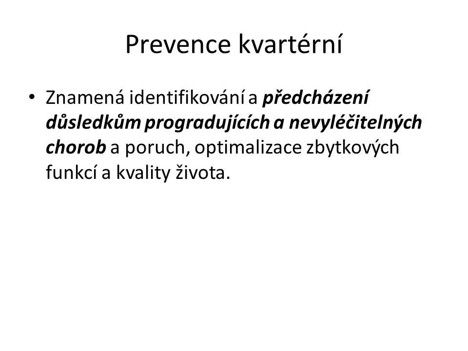 Prevence kvartérní Znamená identifikování a předcházení důsledkům progradujících a nevyléčitelných chorob a poruch, optimalizace zbytkových funkcí a k