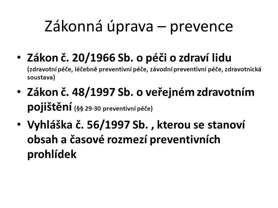 Zákonná úprava – prevence Zákon č. 20/1966 Sb. o péči o zdraví lidu (zdravotní péče, léčebně preventivní péče, závodní preventivní péče, zdravotnická