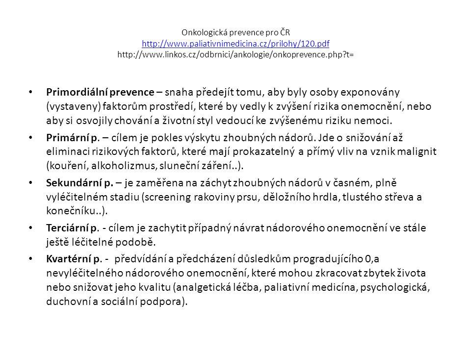 Onkologická prevence pro ČR http://www.paliativnimedicina.cz/prilohy/120.pdf http://www.linkos.cz/odbrnici/ankologie/onkoprevence.php?t= http://www.pa