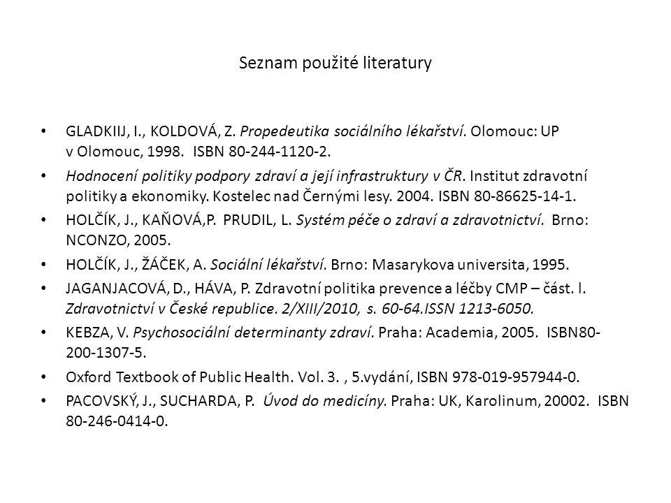 Seznam použité literatury GLADKIIJ, I., KOLDOVÁ, Z. Propedeutika sociálního lékařství. Olomouc: UP v Olomouc, 1998. ISBN 80-244-1120-2. Hodnocení poli