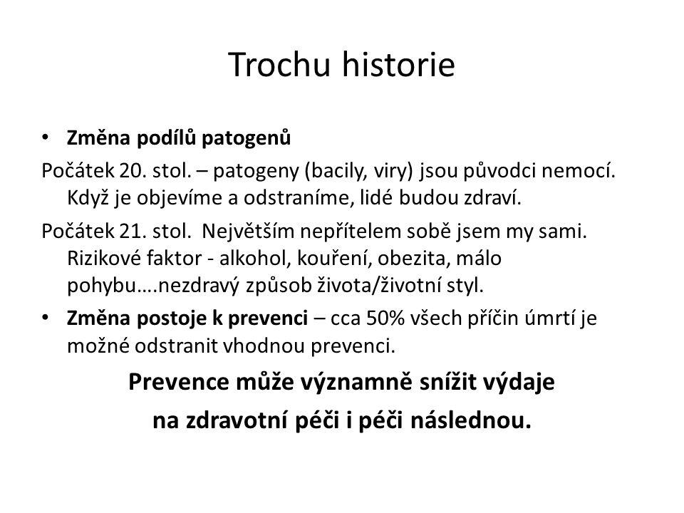 Trochu historie Změna podílů patogenů Počátek 20. stol. – patogeny (bacily, viry) jsou původci nemocí. Když je objevíme a odstraníme, lidé budou zdrav